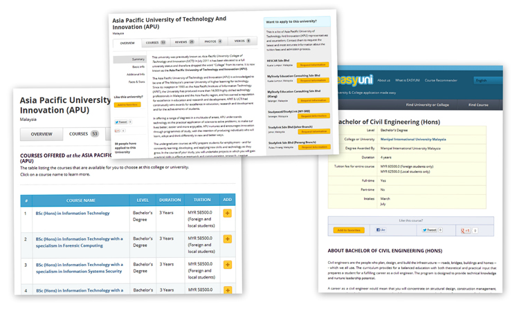 EASYUNI website collage